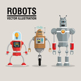 Robot set design. Technology concept. humanoid icon