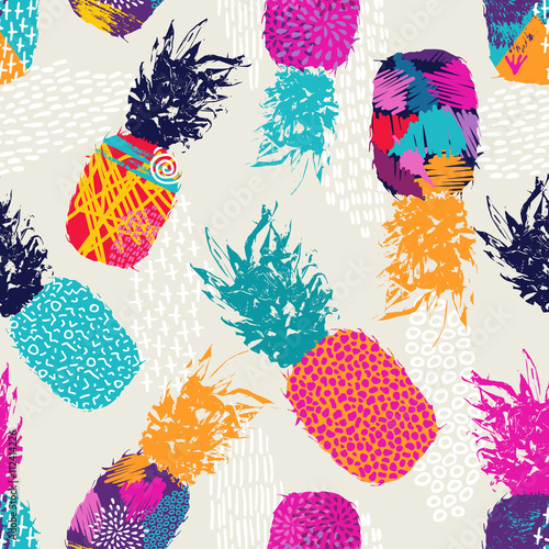 Naklejka dekoracyjna Color retro pineapple seamless pattern for summer