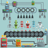 Robot design. industry concept. humanoid icon