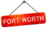 fort worth, 3D rendering, a red hanging sign