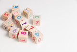 wooden cubes with numbers on a white background. Education and learning concept. 2017 school year. - 112419008