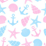 Cute marine life Background. Nautical seamless pattern with starfish, shell, anchor on white background. Baby shower vector illustration. Sea theme. Design for fabric and decor.