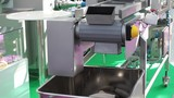 Dough portioner with integrated cutter and conveyor belt, bakery equipment
