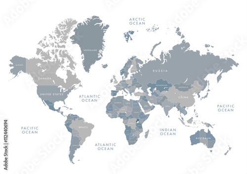Fototapeta Highly detailed world map with labeling. Grayscale vector illustration.