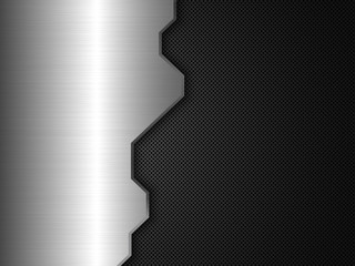 Silver and black metal background. Abstract vector illustration