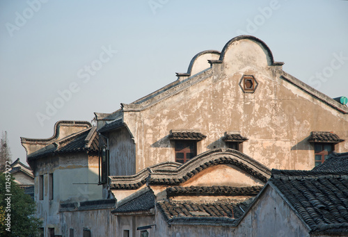 Poster Shanghai, Wuzhen historic scenic town typical old houses design.