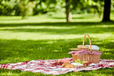 Delicious picnic spread with fresh food - 112457436