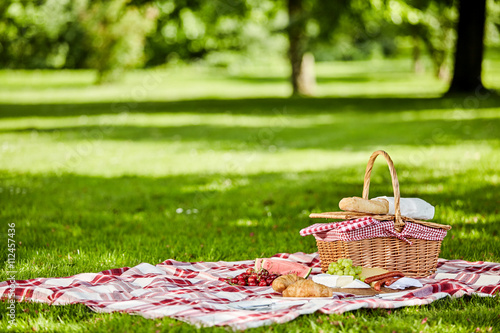Wall mural Delicious picnic spread with fresh food