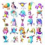 25 Colorful Monster Creature Character Design Set 2 isolated on White Background Realistic Fantasy Cartoon Style Character Story Game Card Sticker Design