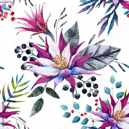 Watercolor tropical pattern - 112476611