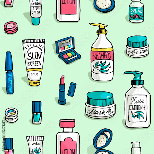 Materiał do szycia pattern of make up and cosmetics