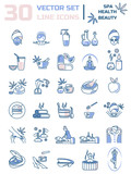 Fototapety Set of linear icons on the topic of health, beauty, Spa therapy,
