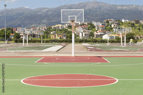 basketball court, colors, empty Poster