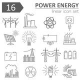 Power energy icon set. Thin line design - 112480625