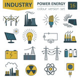 Power energy icon set. Colour version design