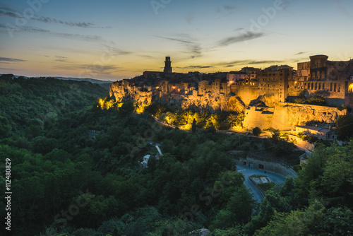 Amazing panoramic view of Pitigliano. Town situated on a rock tu