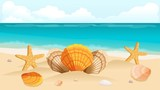 Vector illustration travel postcard, leaflet, the beach, the sea, the composition of shells