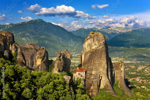 Zdjęcia na płótnie, fototapety, obrazy : Greece. Meteora - incredible sandstone rock formations rise from the ground and the monasteries on the top of rocks. The Holly Monastery of Rousanou. The Meteora area is on UNESCO World Heritage List