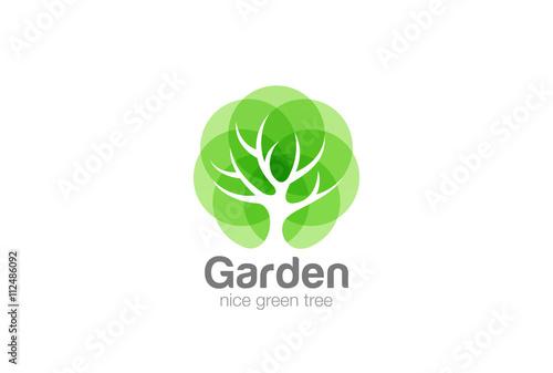 Zdjęcia na płótnie, fototapety, obrazy : Tree Logo abstract design vector Negative space Eco Green Oak