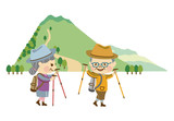 ハイキングする男女 その2