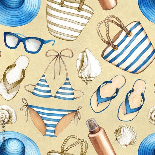 Cotton fabric Summer holiday pattern