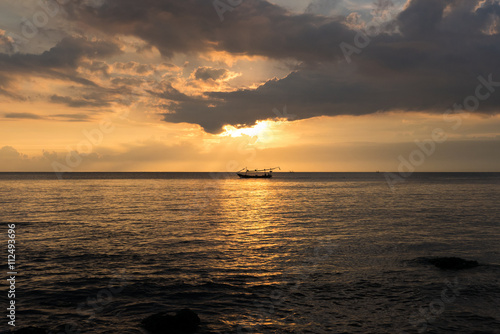 Poster Sunset and ocean view on paradise beach Negara - Bali Island, In