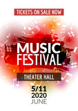 Fototapety Colorful vector music festival concert template flyer. Musical flyer design poster with notes