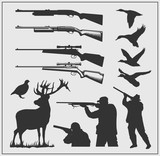 Set of hunting labels, badges and design elements.