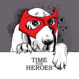 Plakat z portretem psa Basset Hound noszącego maskę bohatera.