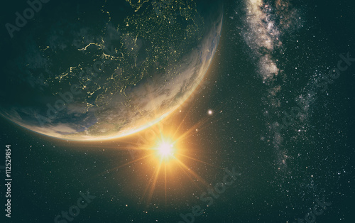 sunrise view of earth from space with milky way galaxy, 3d rendering