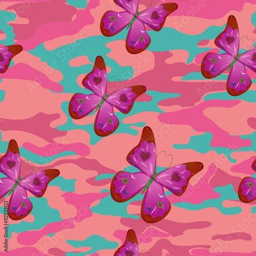 Foto op Plexiglas Vlinders in Grunge Butterfly on the pink military background pattern seamless