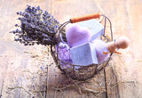 basket of  lavender spa products - 112536612