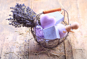 basket of lavender spa products