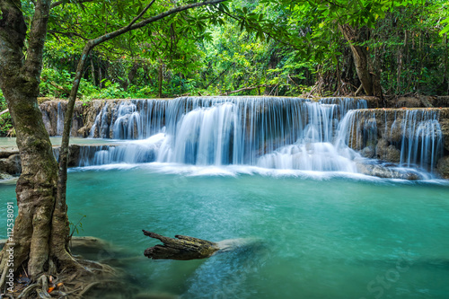 Green landscape with green waterfall at Erawan waterfall , Beauitful and very nice waterfall for relaxation, Erawan waterfall loacated Kanjanaburi Province , Thailand