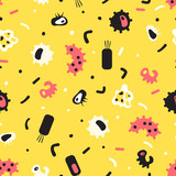 Seamless pattern of bacteria, virus, cells, germs, epidemic baci