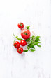 An arrangement of tomatoes and basil