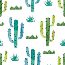 Watercolor cactus seamless pattern. Vector background with green and blue cactus isolated on white.