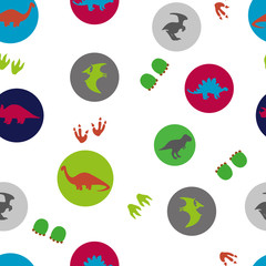 Circles seamless pattern with cute dinosaurs. Vector background with silhouettes of dinosaurs. Kids design.