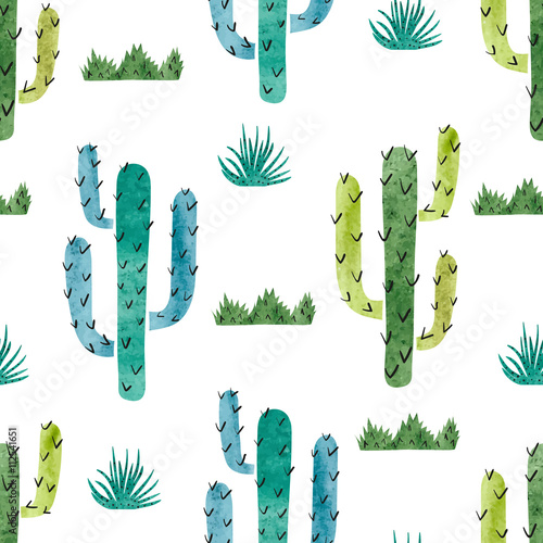 Watercolor cactus seamless pattern. Vector background with green and blue cactus isolated on white.  - 112541651