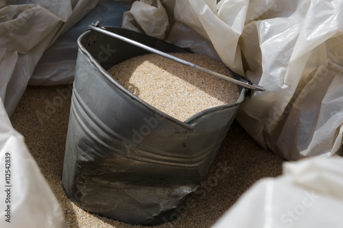 Construction bucket of fine sand for repair. Poster