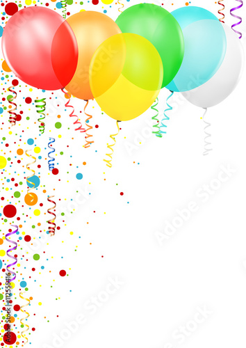 Colorful Confetti and Party Balloons - Colored Illustration, Vector