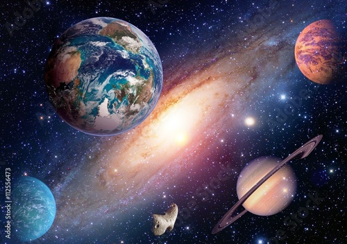 Fototapeta Space planet galaxy milky way Earth Mars Saturn universe astronomy solar system. Elements of this image furnished by NASA.