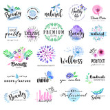 Set of hand drawn watercolor labels and badges for beauty, healthy life and wellness. Vector illustrations for graphic and web design, for cosmetics, natural products, spa, beauty center. - 112557881