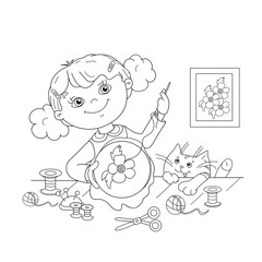 Coloring Page Outline Of cartoon girl with embroidery