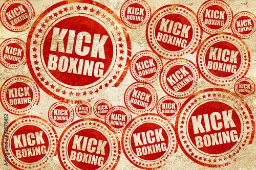 Fototapeta kickboxing, red stamp on a grunge paper texture