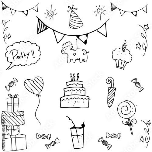 Zdjęcia na płótnie, fototapety, obrazy : Set party doodle illustration