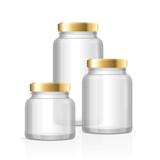 Glass Jars Bottles Empty Transparent. Vector
