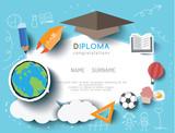 Fototapety Kids diploma preschool certificate elementary school design template background. vector illustration