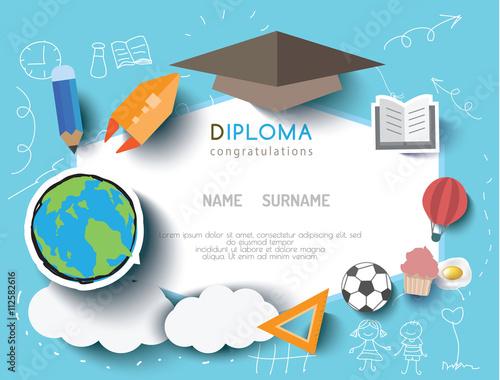 kids diploma preschool certificate elementary school design template