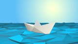 one paper boat sailing on a calm sea, low-poly style (3d render) -  loopable